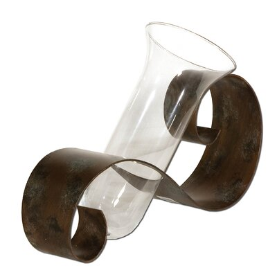 Contemporary Curl Vase in Antiqued Mahogany