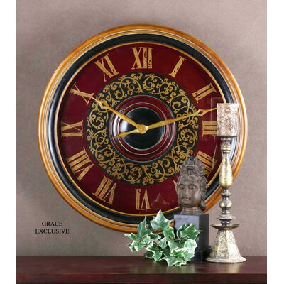 Uttermost Natara Clock in Aged Black Antique Gold and Deep Red
