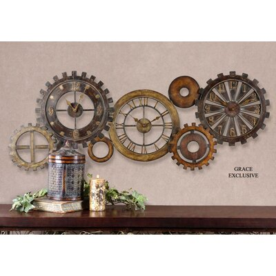 Spare Parts Clock in Dark Chestnut Brown Antique Gold and Silver