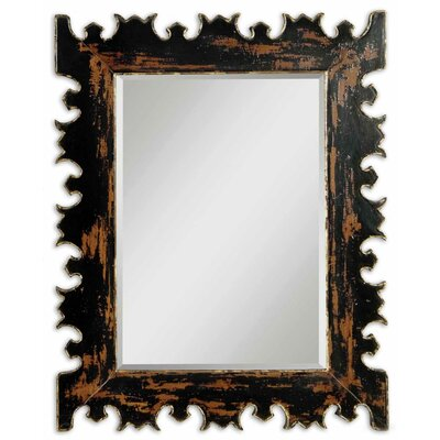 Uttermost Caissa Beveled Mirror in Distressed Antique Black