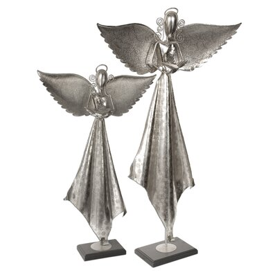 Uttermost Two Piece Angels Sculpture in Antique Nickel