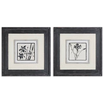 Black & White Florals by Grace Feyock 2 Piece Framed Painting Print Set