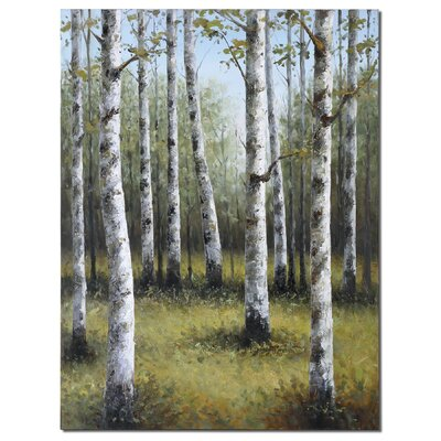 Birches in Spring Hand Painted Wall Art