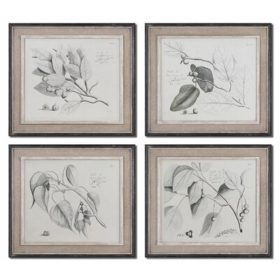 Sepia Leaf Study by Grace Feyock 4 Piece Framed Original Painting Set