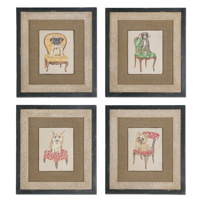 Pampered Pets 4 Piece Framed Original Painting Set