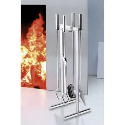 ZACK Calore 4 Piece Stainless Steel Fireplace Tool Set