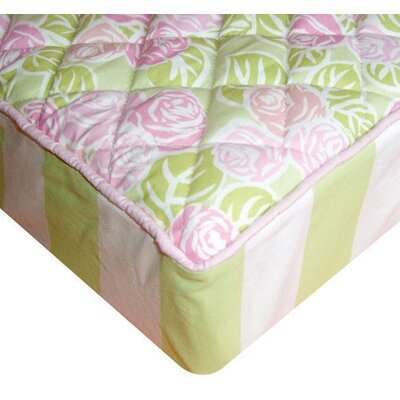 Bacati Flower Basket Quilted Changing Pad Cover in Pink, Green and White