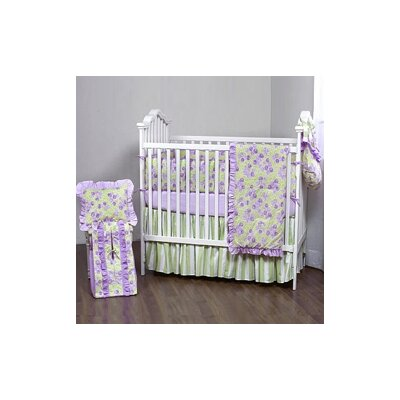 Bacati Flower Basket 4 Piece Crib Bedding Set in Lilac / Green