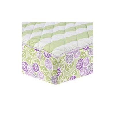 Bacati Flower Basket Quilted Changing Pad Cover Cover in Lilac, Green and White