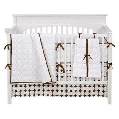 Bacati Quilted Circles 3 Piece Crib Bedding Set in White and Chocolate