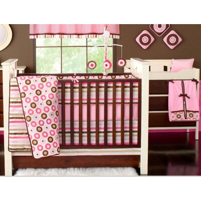 Bacati Mod Dots and Stripes Pink and Chocolate Crib Bedding Collection