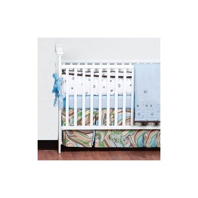Bacati Retro Flowers 3 Piece Crib Bedding Set