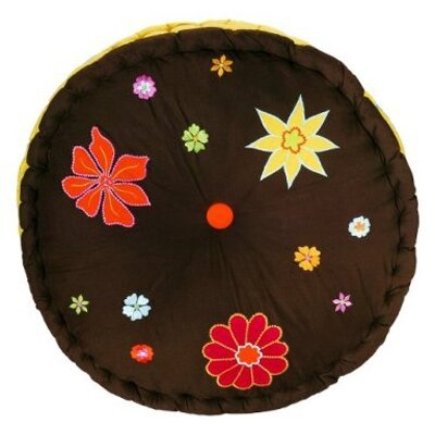 Bacati Valley of Flowers Floor Pillow in Brown