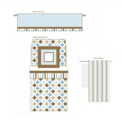 Bacati Mod Diamonds and Stripes Aqua and Chocolate Toddler Bedding Collection