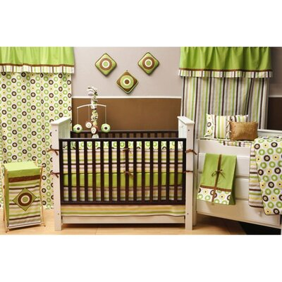 Bacati Mod Dots/Stripes Green/Choco Stripes Crib Sheet