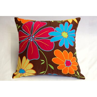 Bacati Valley of Flowers Decorative Square Pillow