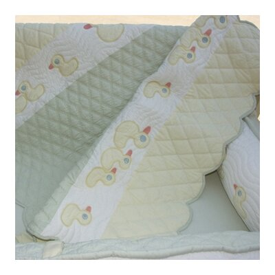 Bacati Quack With Me Cotton Toddler Throw with Rows of Ducks Applique