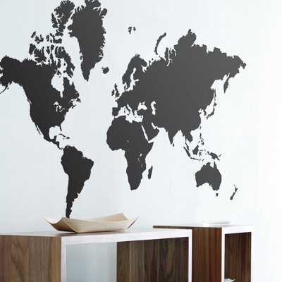 ferm LIVING World Map Wall Sticker in Black