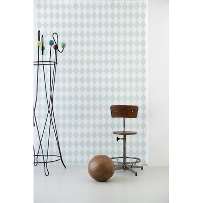 ferm LIVING Harlequin Wallpaper in Dusty Green / Off White