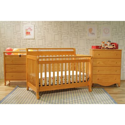DaVinci Emily 4-in-1 Convertible Crib with Toddler Rail in Honey Oak