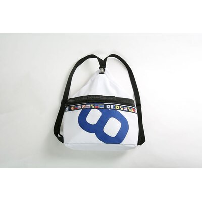 Sardinia Sack Backpack in White Sailcloth with Blue Number