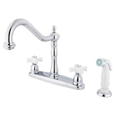 Elements of Design Heritage Double Handle Centerset Kitchen Faucet with Porcelain Cross Handles