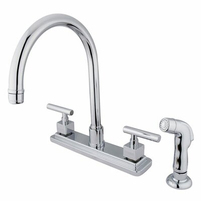 Tampa Double Handle Centerset Kitchen Faucet with Metal Lever Handles and Side Spray