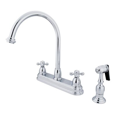 Restoration Deck Mount Double Handle Centerset Kitchen Faucet with Metal Cross Handles