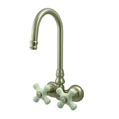 Elements of Design Hot Springs Double Handle Wall Mount Clawfoot Tub Faucet Trim Porcelain Cross Handle