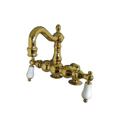 Elements of Design Hot Springs Double Handle Deck Mount Clawfoot Tub Faucet Trim Porcelain Lever Handle