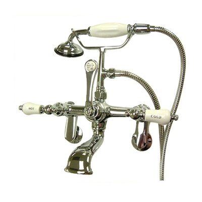 Elements of Design Hot Springs Double Handle Wall Mount Clawfoot Tub Faucet with Handshower