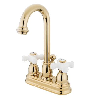Elements of Design Centerset Bathroom Faucet with Double Porcelain Cross Handles