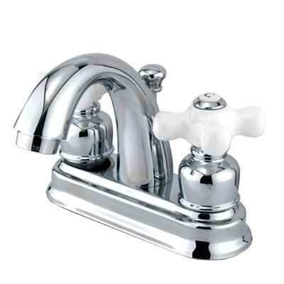 Chicago Centerset Bathroom Sink Faucet with Double Porcelain Cross Handles - EB561PX+