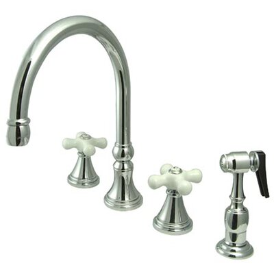 Deck Mount Double Handle Widespread Kitchen Faucet with Porcelain Cross Handle