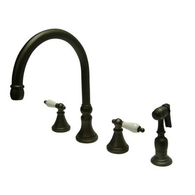 Elements of Design Deck Mount Double Handle Widespread Kitchen Faucet with Porcelain Lever Handle