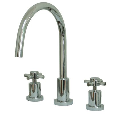 Elements of Design Double Handle Widespread Kitchen Faucet with Cross Handle