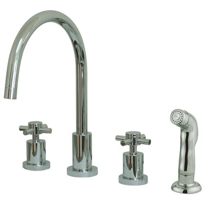 South Beach Double Cross Handle Widespread Kitchen Faucet with Non-Metallic Sprayer