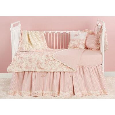 Doodlefish Toile Pink Toddler Coverlet and Pillow