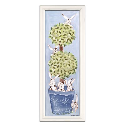 Bunny Topiary Giclee in Blue