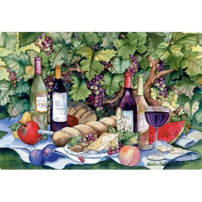 "Magic Slice 9.5"" x 12.5"" Vineyard Picnic Design Cutting Board"