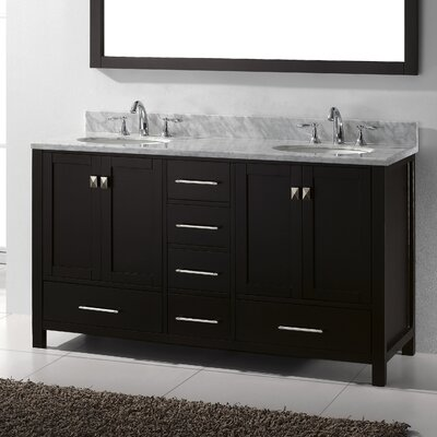 Virtu Caroline Avenue 60quot; Double Bathroom Vanity Set with Mirror