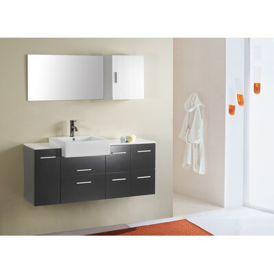 "Virtu Hazel 55.12"" Single Bathroom Vanity Set"