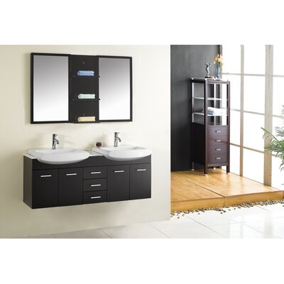 "Virtu Ophelia Double 59.1"" Bathroom Vanity Set in Espresso"