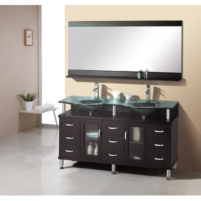 "Virtu Rocco 61"" Double Sink Bathroom Vanity Set in Espresso"