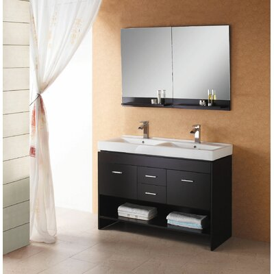 Virtu Gloria 48&quot; Solid Oak Double Sink Bathroom Vanity Set in Espresso