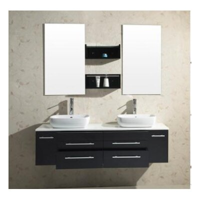 "Virtu Augustine Double 58.7"" Bathroom Vanity Set in Espresso/Black"