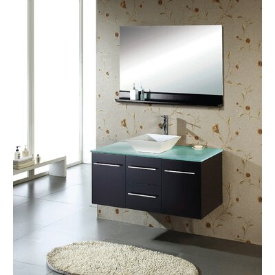 "Virtu Ultra Modern Marsala 47.2"" Wall Mounted Single Bathroom Vanity Set in Espresso"