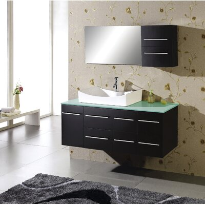 "Virtu Ultra Modern Ceanna 55"" Wall Mounted Single Bathroom Vanity Set in Espresso"