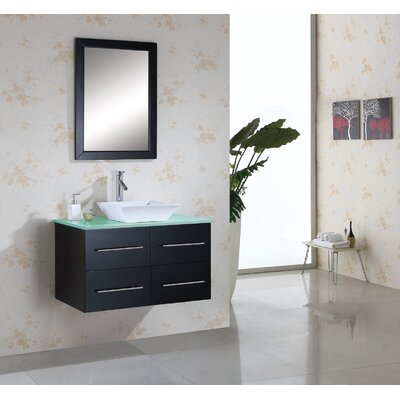 "Virtu Ultra Modern 35.4"" Marsala Single Bathroom Vanity Set"