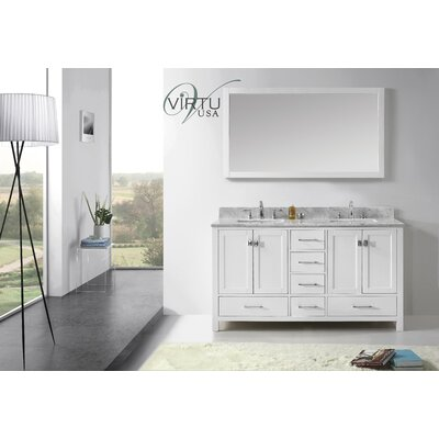 "Virtu Caroline Avenue 60.8"" Double Sink Bathroom Vanity Set"